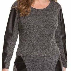Lane Bryant   Tweed Top W/Black Leather Sleeves